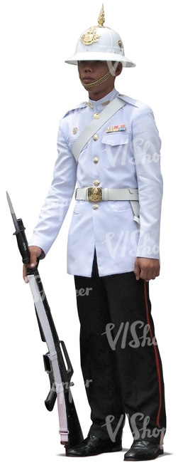 cut out asian guard standing