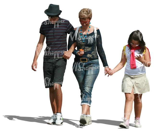 woman with her two children walking hand in hand