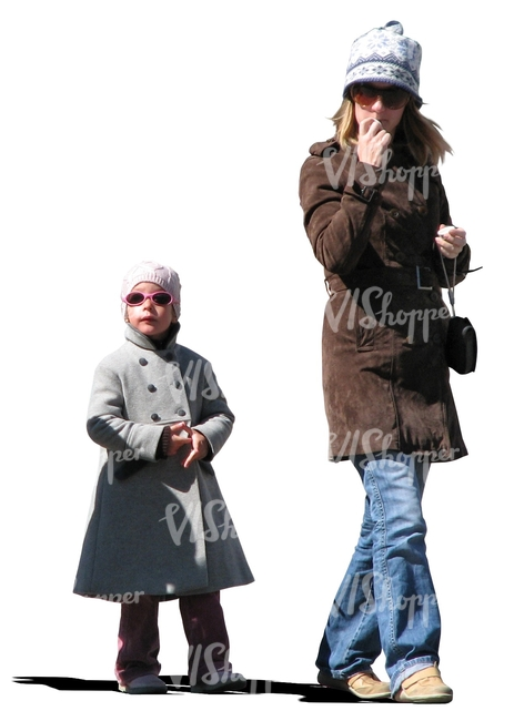 mother and daughter with sunglasses walking