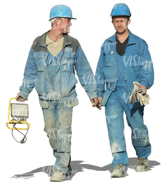 two construction workers walking