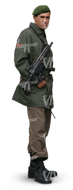 soldier with a gun standing
