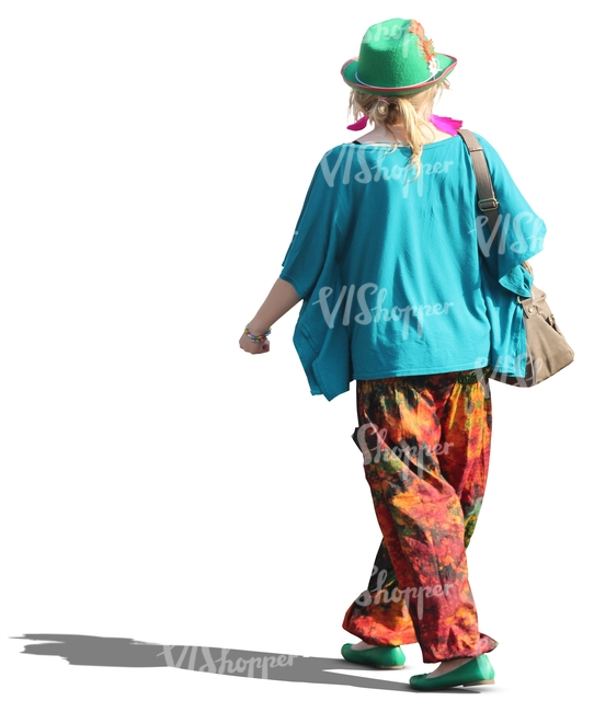 woman in colorful clothes walking