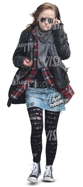 teenage girl in punk style outfit walking