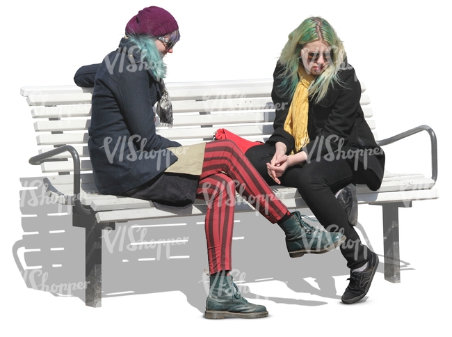 two punk women sitting on a bench