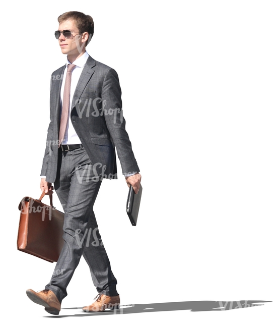 young businessman with a briefcase and a tablet