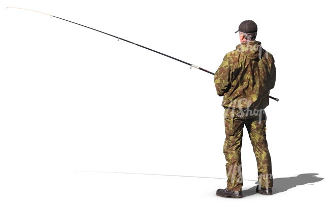 Man fishing in camouflage clothing cut out people for Videos of people fishing
