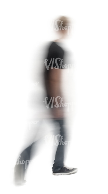 motion blur image of a young man from back