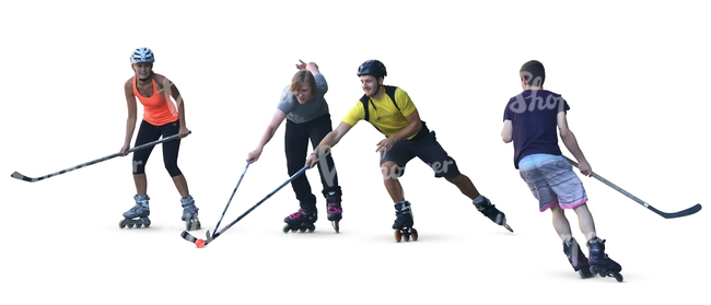 four people playing a roller hockey
