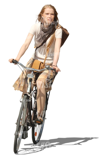 woman riding a bike in summer