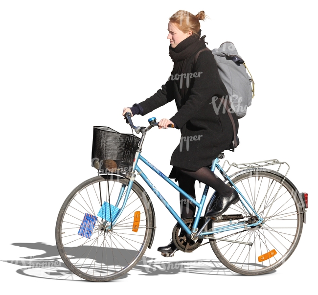 woman with a backpack riding a blue bike