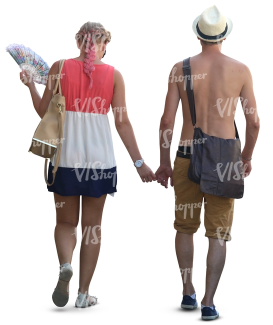 shirtless man and a woman walking hand in hand