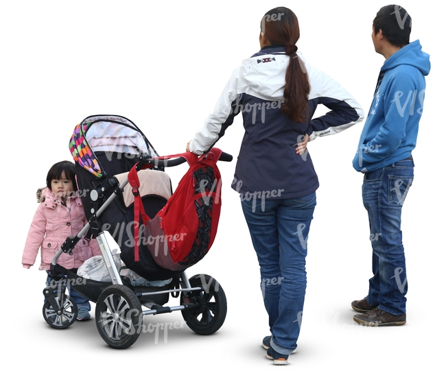 asian family with a baby stroller