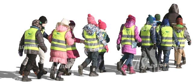 group of children in reflector vests walking