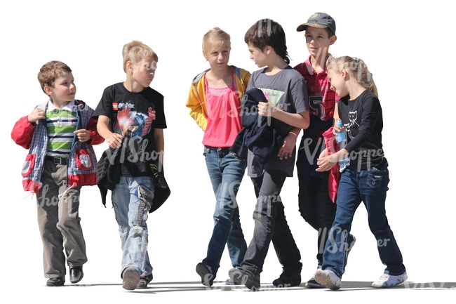 Group Of Six Children Walking Cut Out People Vishopper