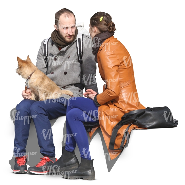 couple with a dog sitting and talking