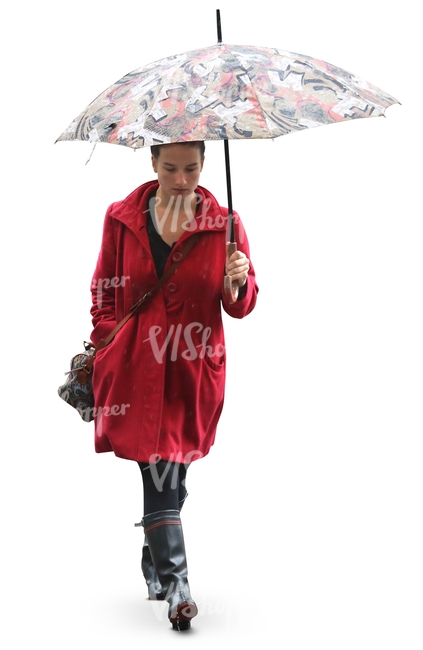 Woman In A Red Coat And Wellies Walking Under An Umbrella