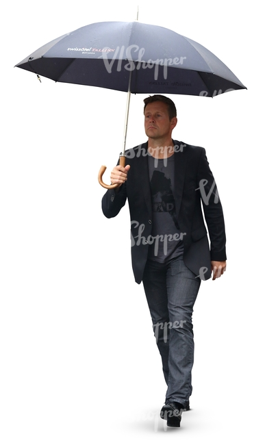 man with an umbrella walking in the rain cut out people vishopper