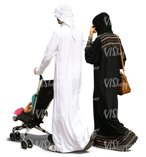 arab family walking with a baby stroller