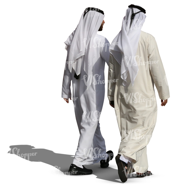 two arab men in white thobes walking and talking