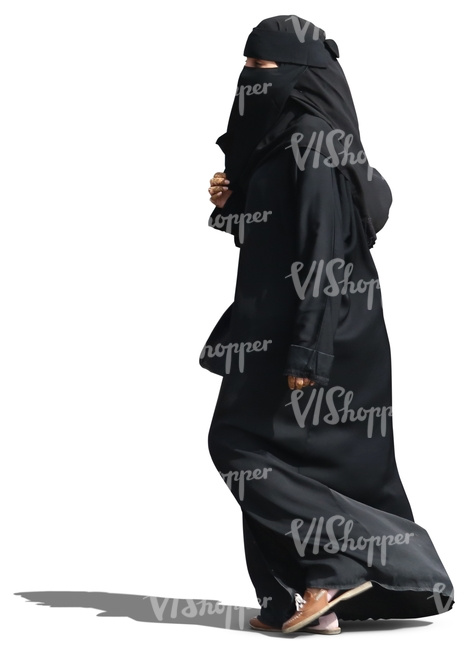 arab woman in a black abaya walking