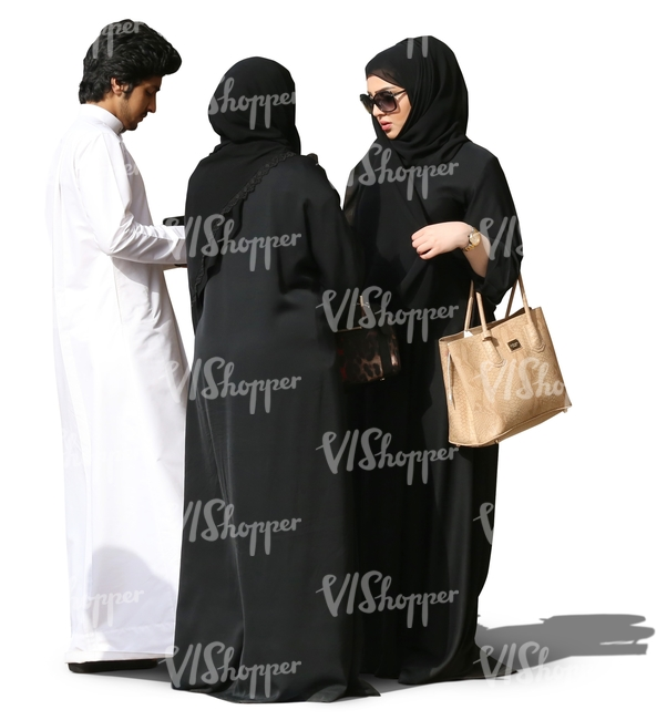 three muslims standing and talking