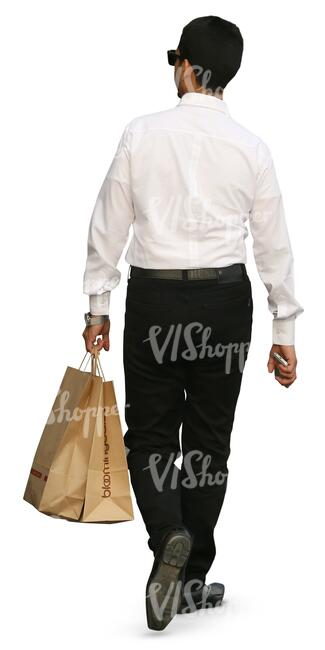 businessman with shopping bags walking