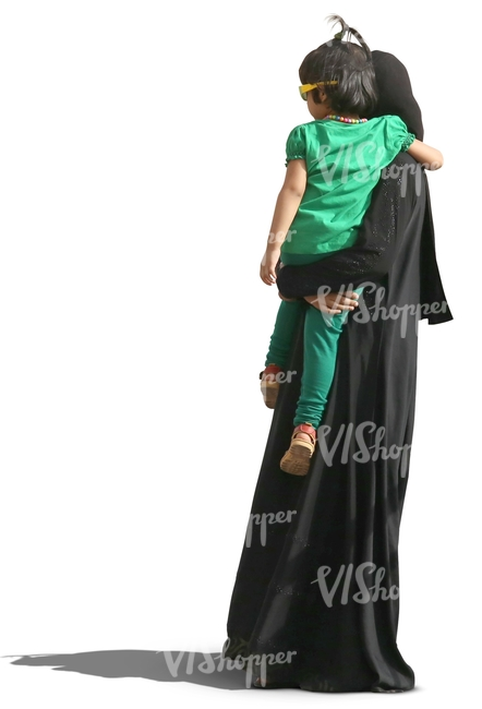 muslim woman in abaya holding her daughter