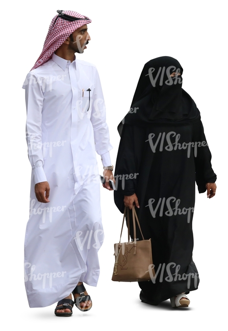 arab man and woman walking