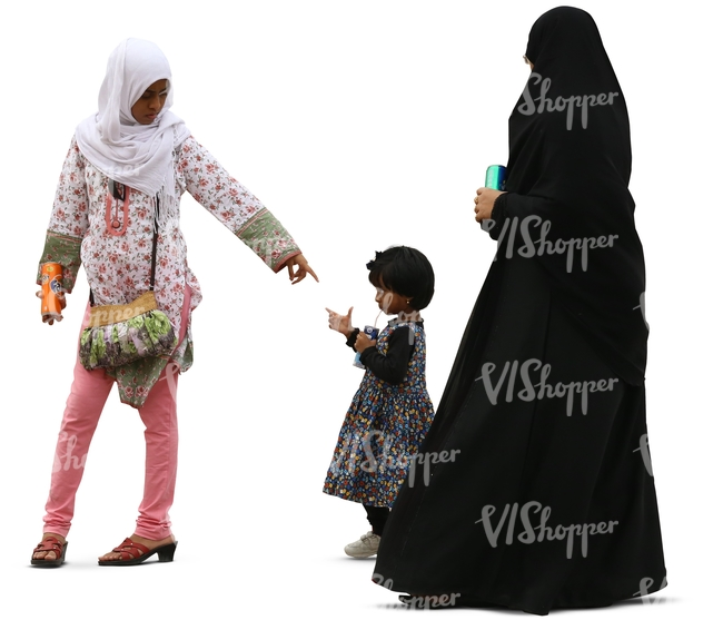 muslim woman with two daughters