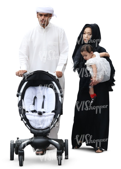 arab family walking with a baby