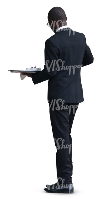 black waiter standing with a tray
