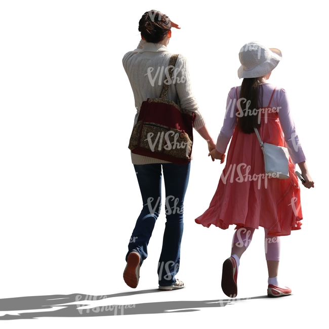 cut out mother and daughter walking hand in hand