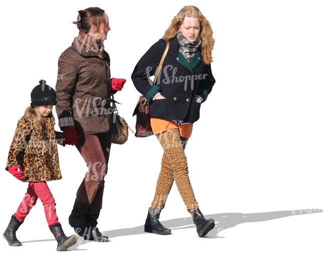 two women and a child walking together