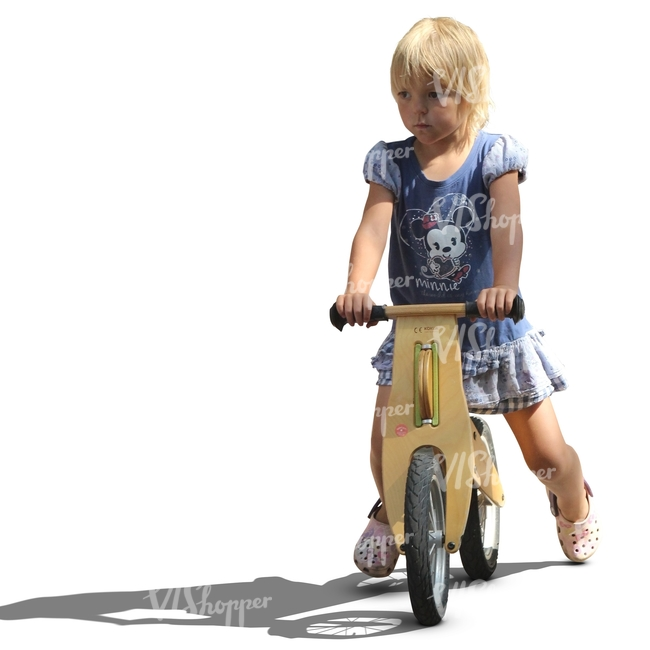 cut out blond girl riding a likeabike
