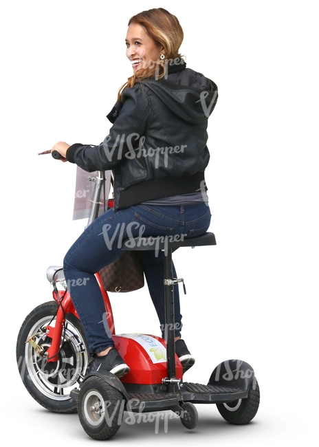 cut out woman riding a tricycle