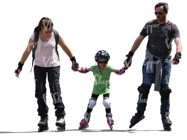 mother father and a child roller skating hand in hand