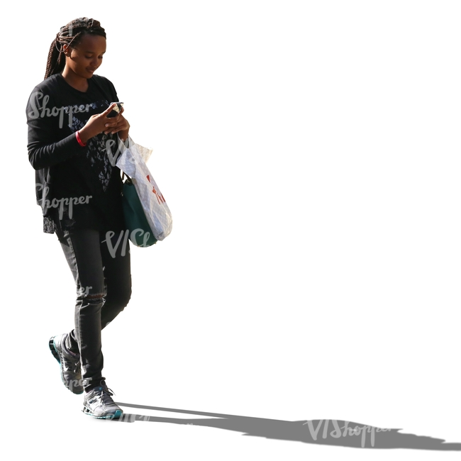 cut out black woman walking and texting