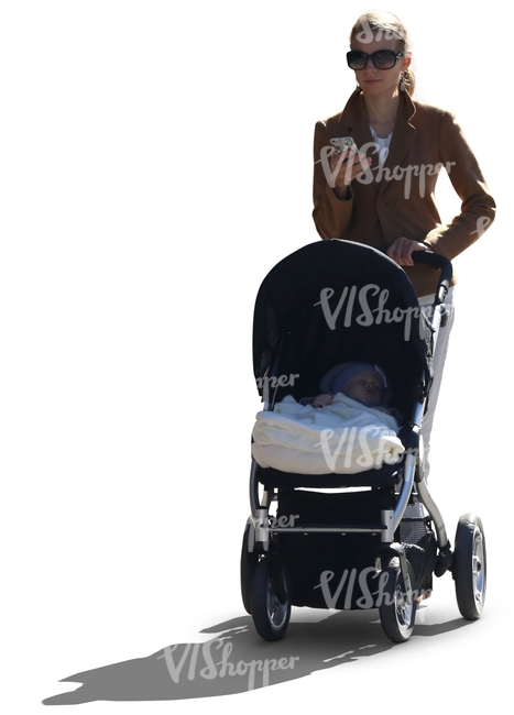 cut out backlit woman walking a baby