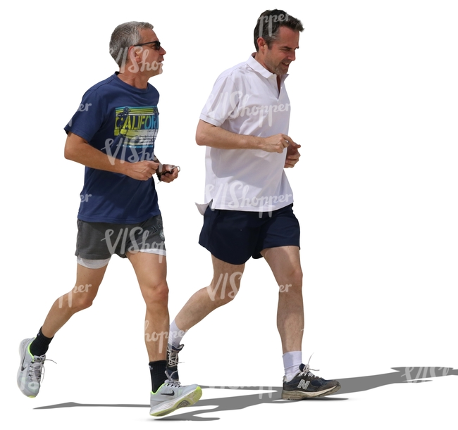 two men jogging and talking