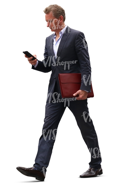 cut out businessman walking hastily with a phone in his hand