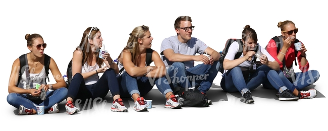six people sitting in a row and eating snacks