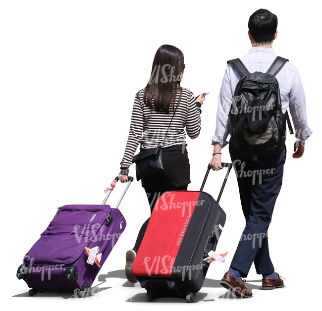 asian man and woman pulling large suitcases