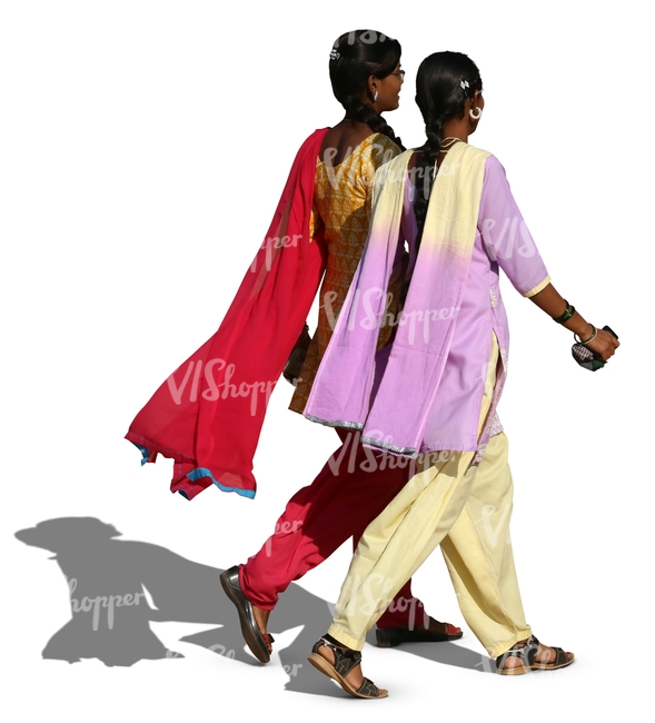 two hindu women wearing colorful indian clothing walking and talking