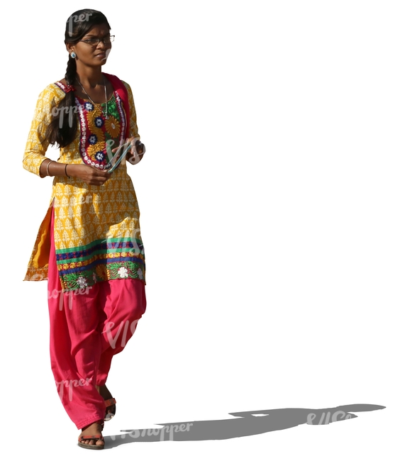 Indian Woman In A Colorful Traditional Attire Walking