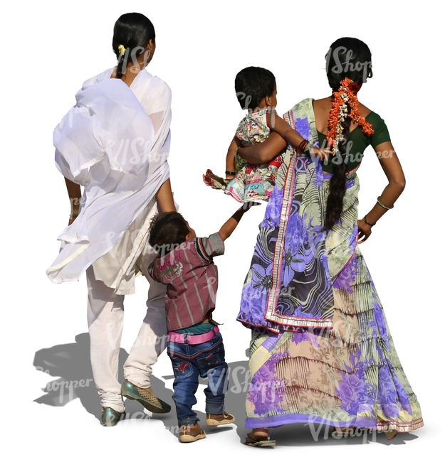 two indian women walking with children