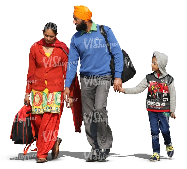 indian family walking hand in hand