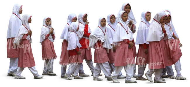 group of muslim schoolgirls walking in a row