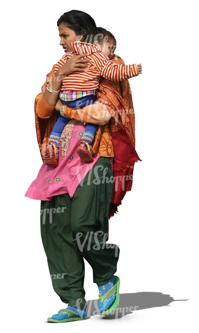indian woman carrying a small child
