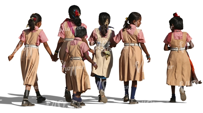 group of indian schoolgirls walking