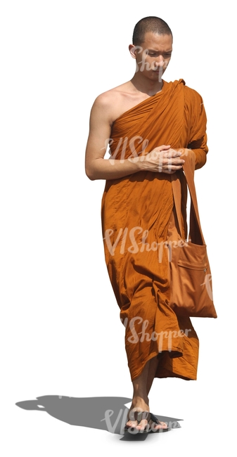 young buddhist monk walking - cut out people - VIShopper